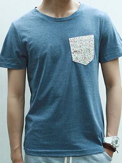 Japanese Retro Style Slim Tee Solid Color Pocket 2015 Latest Design