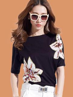2015 High Quality Summer Elegant Sequined Boat Neck Half Sleeve Fantasy T-Shirt