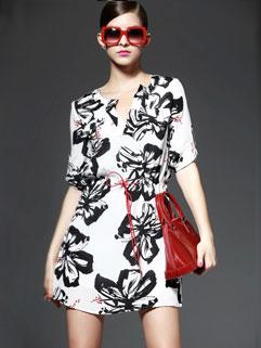 V Neck Flower Print Chiffon Short Sleeve Dresses