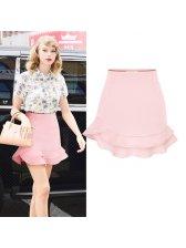 2015 Summer Cute Women Solid Color Layered Short Skirt