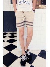 2015 Japanese Style Men Casual Shorts Apricot Shorts All-matching Hole Drawstring Up