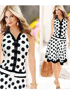2015 Hot Sale Summer Women Dot Printing V-Neck Casual White Dress