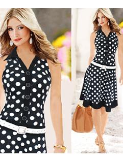 2015 New Arrival Women Dot Printing Sleeveless Black Dress
