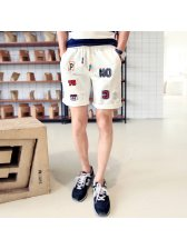 Men All-matching Shorts Hole Colorful Patch Work Drawstring Up Japanese Style