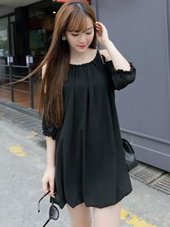 Sweet Off Shoulder Loose-fitting Cheap Summer Dress