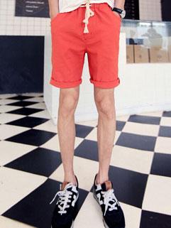 Korean Style Men Shorts Fashion Orange Color Pocket Drawstring Up All-matching