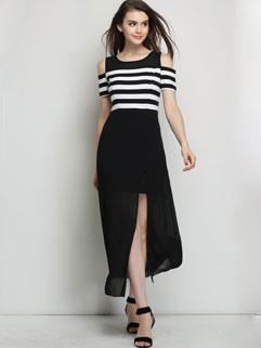 Low-cost Contrast Color Off Shoulder Hem Slit Stripes Pattern Wholesale Dress