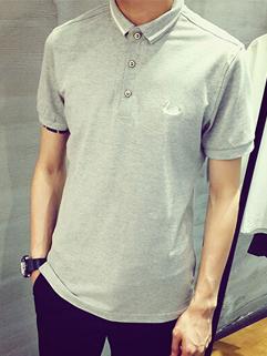 Korean Style Men Tee Fashion Casual Lapel Swan Embroidery Grey Color