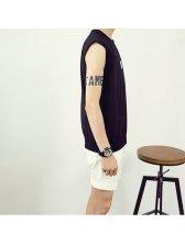 2015 Korean Style Men Vest Freshing Solid Color Letter Printed Loose Sleeveless
