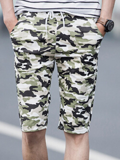 Men Shorts 2015 Latest Korean Style Casual Camonflage Printed Loose Drawsting