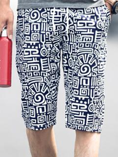 Men Shorts 2015 Latest Korean Style Casual Totem Printed Loose Drawsting