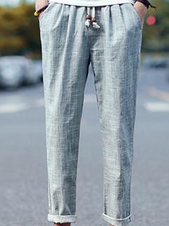 2015 Latest Design Men Ninth Pants Solid Color Straight Pocket Drawstring