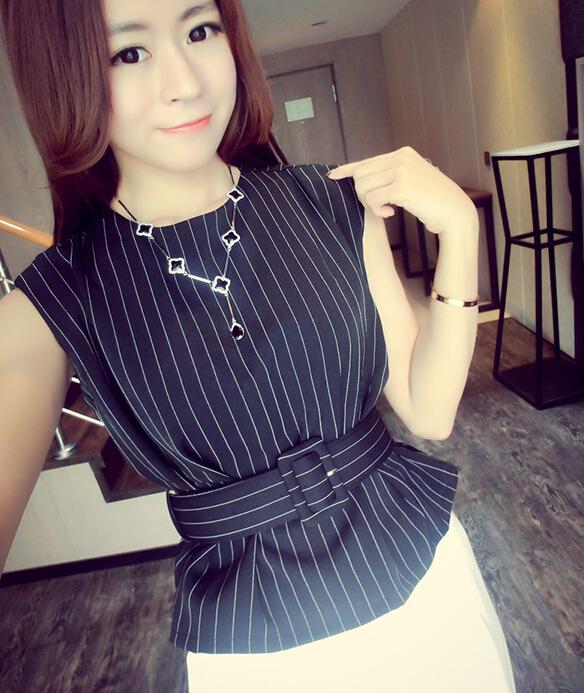 Classic Look Striped Printed OL Style Sleeveless Zip Up Black Chiffon Blouse