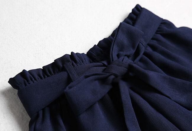 Solid Color Lace-up Wide Leg Short Pants For Woman