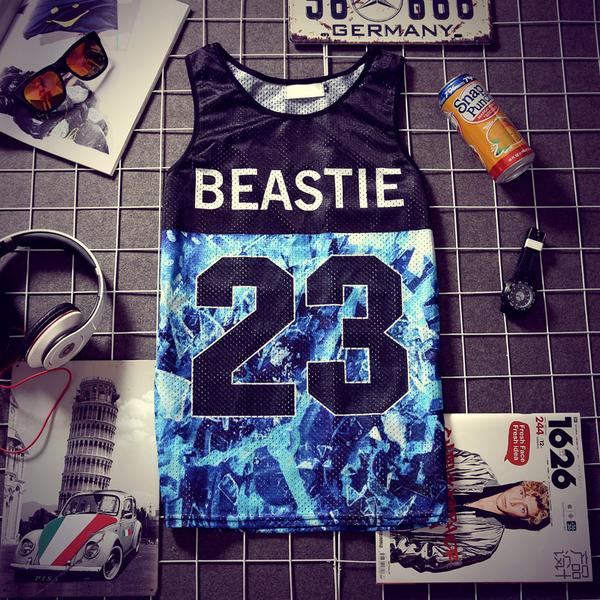 2015 Latest Design Men Vest Casual Slim Color Stitching Star Printed