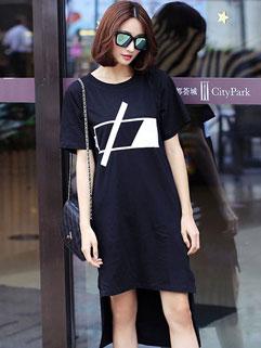 Korean Style Short Sleeve Asymmetric Hem Baggy T shirt Dress