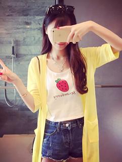 Summer Match Yellow Knitted Half Sleeve Casual Wear Women Outwear