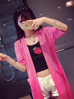 Online Cheap Half Sleeve Comfortable Pockets Cardigan Korean Clothes