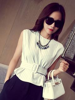 Korean New Design Striped Printed Zip Up Sleeveless White Blouse
