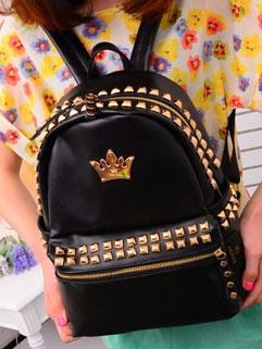 Trendy Rivets Edge Crown Zip Up Womans Backpack