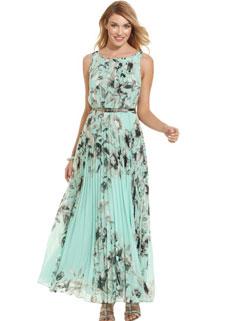 Flower Print High Waisted Sleeveless Frilled Beautiful Dress