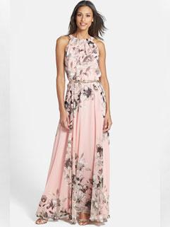Low-price Flower Print Halter Neck High Waisted Summer Dress With Belt