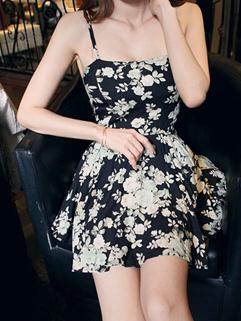 Wholesale Online Clothing Floral Printing Straps Black Mini Jumpsuit