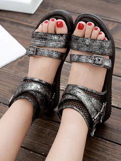 2015 Latest Open Toe Back Zip Eyelets Gladiator Sandals