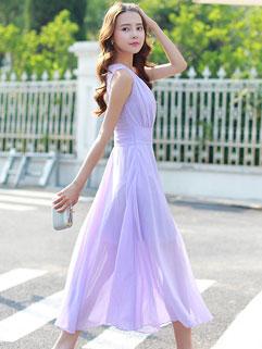 Smart Waist Sleeveless V-neck Coast Dress