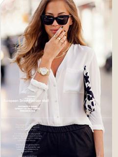 2015 Autumn New Brand Euro Style Long Sleeve V Neck Elegant Women Blouse