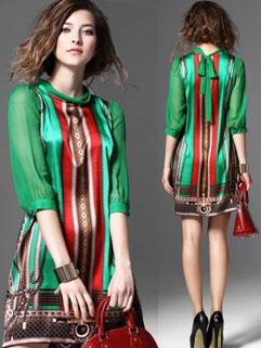 Euro Style Fashion Print Sheer Sleeve Bandage Elegant Dress