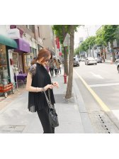 Trendy Lace Matching Sheer Sleeve Stand Collar Frilled Cheap Blouse