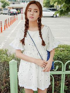 Youthful Raw Edge Lantern Sleeve High Waisted Printed Korean Dress