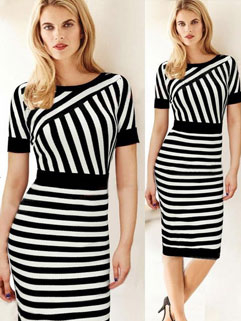 Fashion Black and White Stripes Short Sleeve Bodycon Pencil Dress