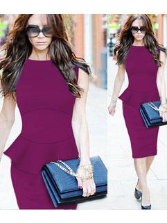 OL Style Flounced Hem Sleeveless Cheap Bodycon Dress