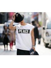 2015 Latest Design Men Vest Korean Style Handsome Loose Letter Printed