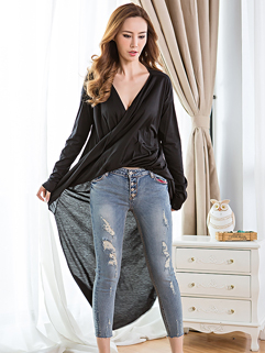 Wholesale All Match Black Personality Long Loose Asymmetrical Euro Style Clothes