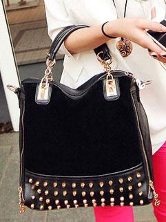 2015 Women Shoulder bags Zip Up Rivet Decoration New Versatile Fashion