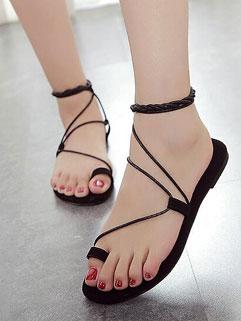Trendy Toe Slot Lace Up Black Gladiator Flats