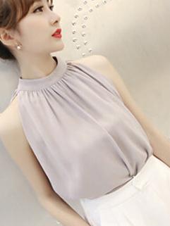 OL Style Elegant Sleeveless Light Gray Stand Collar Korean Blouse
