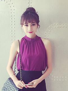 Summer Fashion High Quality Chiffon Stand Collar Sleeveless Blouse