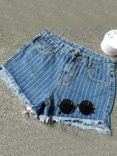 Korean Style Raw Edge Vertical Stripes Short Jeans For Woman