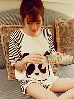 Newly Casual Match Short Sleeve High Quality Printed Cute Pajama