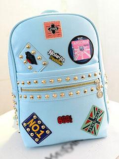 Particular Rivets Emblem Appliques Front Zip Womans Backpack