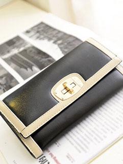 New Arrival Contrast Color Metallic Hasp Wallet