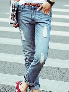 Men Denim Pants Korean Style Straight Casual Fashion Hole Ninth Haren Pants