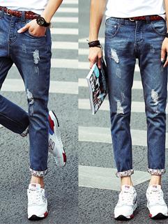 Men Denim Pants Japanese Retro Style Straight Casual Fashion Hole Ninth Pants