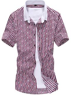 Korean Style Men Shirt Slim Solid Color Striped Printed Workman Fashion Casual