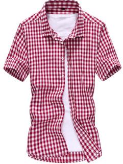 Men Shirt Korean Style Fashion Casual Workman Style Slim Block Printed
