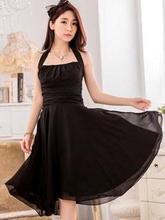 Charming Halter Neck Backless Frilled Expansion Black Dress
